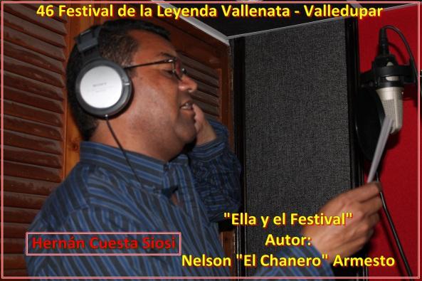 """Hernán Cuesta Siosi en el momento de la grabación de """"Ella y el Festival"""" de autoría de Nelson Armesto Echavez"""